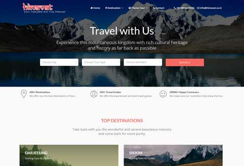 tour and travel website in sikkim